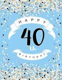Szczęśliwa 40th Urodzinowa Wektorowa ilustracja Błękitny tło Z Lekkimi confetti, Białymi faborkami i Czarnymi listami, ilustracji