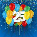 Szczęśliwa 25th urodziny, rocznicy karta z balonami/ Fotografia Royalty Free