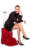 szczęśliwa turystyczna kobieta Zdjęcia Royalty Free