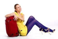 szczęśliwa turystyczna kobieta Zdjęcie Royalty Free