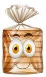 Szczęśliwa twarz na chlebie ilustracji