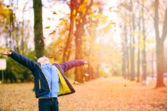 Szczęśliwa uśmiechnięta chłopiec bawić się w jesień parku Zdjęcia Royalty Free