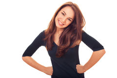 Szczęśliwa urocza delikatna kobieta Fotografia Royalty Free