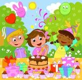 szczęśliwa urodzinowa dziewczyna ilustracji