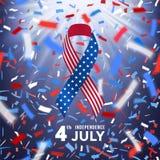 Szczęśliwa usa dnia niepodległości karta z confetti Obrazy Stock