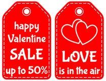 Szczęśliwa valentine sprzedaż do 50 miłości jest w lotniczym etykietka secie Obrazy Stock