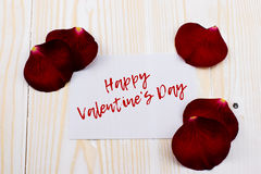 Szczęśliwa valentines dnia karta z różami Zdjęcia Stock