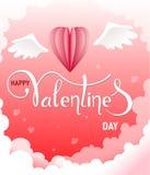 Szczęśliwa valentines dnia powitań karta z realistycznego papieru rżniętymi sercami kształtuje latanie na chmurach na tle menchie ilustracja wektor