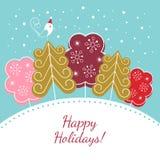 Szczęśliwa wakacje kartka bożonarodzeniowa Zdjęcia Stock