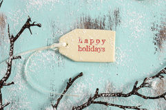 Szczęśliwa wakacje prezenta etykietka Zdjęcie Royalty Free