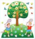 Szczęśliwa wakacji letnich dzieci ` s rozrywka Zdjęcia Royalty Free