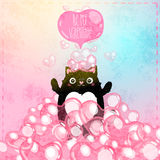 Szczęśliwa walentynka dnia karta z kotem Zdjęcie Royalty Free