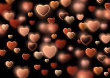 Szczęśliwa walentynka dnia karta z Złocistym Błyskotliwym Gwiazdowego pyłu sercem, royalty ilustracja