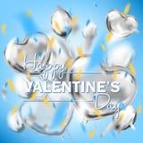 Szczęśliwa walentynka dnia nieba błękita kwadrata karta z kruszcowego kierowego kształta lotniczymi balonami ilustracja wektor