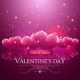 Szczęśliwa walentynka dnia wiadomość, różowi spławowi serca Fotografia Stock
