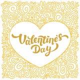 Szczęśliwa walentynka dnia złocistej folii inskrypcja i kędzioru wzór 14th Luty kartka z pozdrowieniami na białym tle Zdjęcie Stock