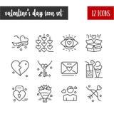 Szczęśliwa walentynka, s dnia konturu 12 ikony set « ilustracja wektor