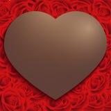 Szczęśliwa walentynki, Czekoladowa serce rama na czerwieni róży wzoru tle, rocznika styl Fotografia Royalty Free