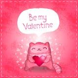 Szczęśliwa walentynki karta. Śliczny kot z sercem. Zdjęcia Stock