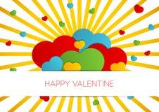 Szczęśliwa walentynki karta z sercami i sunburst Zdjęcia Royalty Free