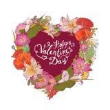 Szczęśliwa walentynki ` s dnia gratulacje karta z sercem kwiaty ilustracja wektor