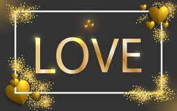 Szczęśliwa walentynki ` s dnia ilustracja Złotej miłości abstrakcjonistyczna tekstura i złoty serce olśniewający rocznika pojęcie ilustracji