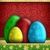 Szczęśliwa wielkanoc - barwioni jajka na czerwieni deseniowali tło Fotografia Royalty Free
