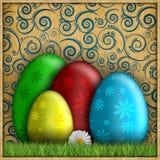 Szczęśliwa wielkanoc - barwioni jajka na wzorzystym tle Zdjęcia Royalty Free