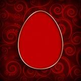 Szczęśliwa wielkanoc - czerwony jajko na wzorzystym tle Zdjęcia Royalty Free