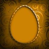 Szczęśliwa wielkanoc - kształt Easter jajko na wzorzystym tle Obraz Stock