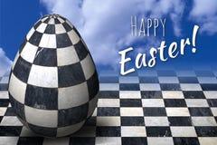 Szczęśliwa wielkanoc, paschalna kartka z pozdrowieniami z 3D Easter modnym w kratkę jajkiem ilustracji