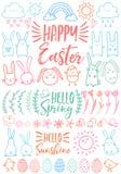 Szczęśliwa wielkanoc, set wektorowi doodles Zdjęcie Royalty Free