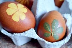 Szczęśliwa wielkanoc: Wielkanocni jajka barwiący z cebulą Zdjęcia Stock