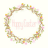 Szczęśliwa wielkanoc, Wielkanocny wianek Zdjęcia Stock