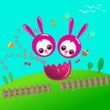Szczęśliwa wielkanoc z duetu królikiem ilustracja wektor