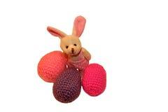 Szczęśliwa wielkanoc, zając, Easter, biel, tło jajeczny, izolujący, uradowany, zabawkarski, wakacje Zdjęcia Stock