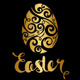 Szczęśliwa Wielkanocna świętowanie karta z złotym kwiecistym projektem dekoruje ilustracja wektor