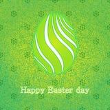 Szczęśliwa Wielkanocna świętowanie karta z zielonym projektem dekorował Easter jajko tło abstrakcyjne branch dekoracyjnego kwieci Zdjęcia Stock