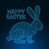 Szczęśliwa Wielkanocna ilustracja robić poligonalną wireframe siatką z niskim poli- królikiem 2007 pozdrowienia karty szczęśliwyc royalty ilustracja