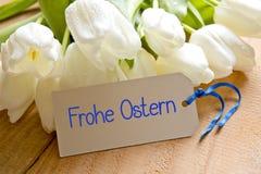 Szczęśliwa Wielkanocna karta i tulipany Zdjęcia Stock