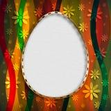 Szczęśliwa Wielkanocna karta - kształt jajko na wzorzystym tle Obrazy Royalty Free