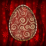 Szczęśliwa Wielkanocna karta - wzorzysty jajko na czerwonym tle Obraz Stock