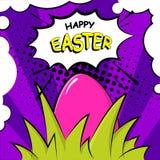 Szczęśliwa Wielkanocna karta z jajkiem, trawa i tekst, chmurniejemy Komiczka styl ilustracji