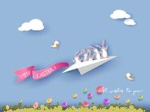 Szczęśliwa Wielkanocna karta z królikiem, kwiatami i jajkami, Zdjęcie Stock