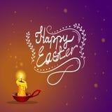 Szczęśliwa Wielkanocna karta z płonącą świeczką Obrazy Royalty Free