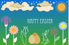 Szczęśliwa Wielkanocna karta z zając, kwitnącymi wiosna kwiatami, chmurami, słońcem i ozdobnymi jajkami, royalty ilustracja