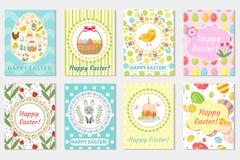 Szczęśliwa Wielkanocna kartka z pozdrowieniami kolekcja, ulotka, plakat Wiosna śliczny set szablony dla twój projekta również zwr Obrazy Royalty Free
