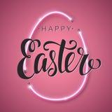 Szczęśliwa Wielkanocna pisma literowania inskrypcja Ręki literowania karta Abstrakcjonistyczny tło z jaskrawym różowym wektorowym ilustracji