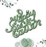 Szczęśliwa Wielkanocna ręka kreślił literowanie Obraz Royalty Free