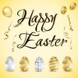 Szczęśliwa Wielkanocna wakacje karta z jajkami również zwrócić corel ilustracji wektora ilustracji